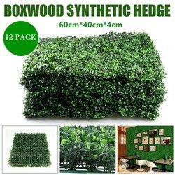 Tapis de plantes artificielles en bois de boîte 12 /10 | Panneaux muraux décoratifs en Faux vert pour clôture de confidentialité, adaptés à l'extérieur