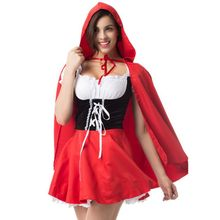 2019 Women Sexy Lace Dress Large Size Halloween Maid Little Red Riding Hood Cosplay Princess Costume