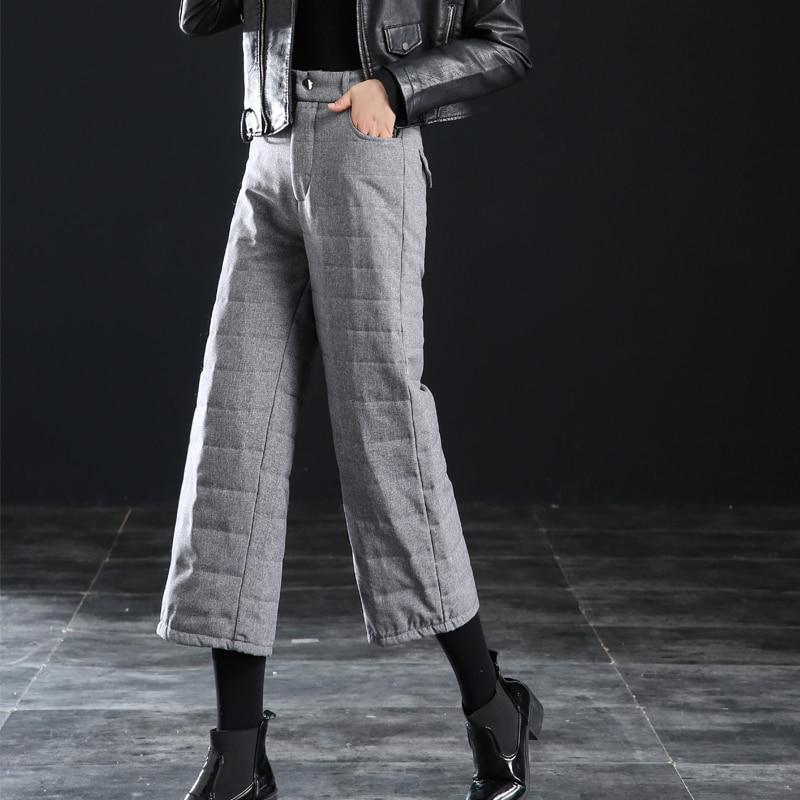TOTNWANG Winter Down Pants Plus Size Women Pants 2019 Thicken Warm High Waist Wide Leg Pant Casual Elastic Waist Trousers Female