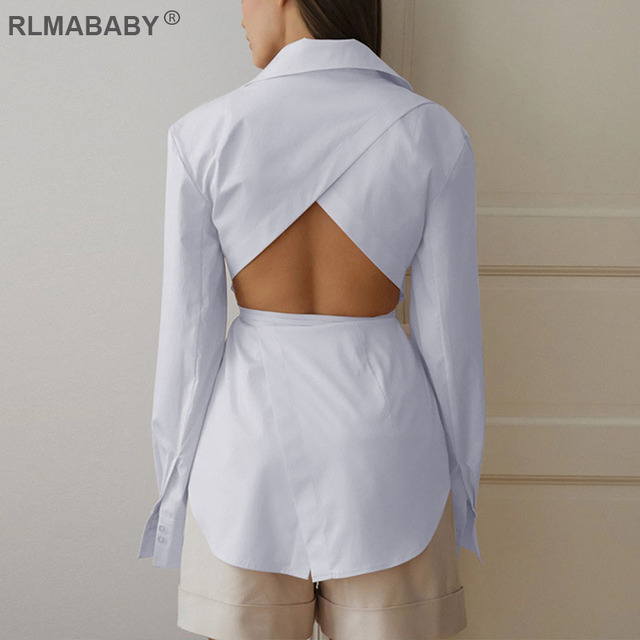 Sexy backless hollow blouse shirts white lace up button office lady blouse slim turn-down collar long sleeve autumn blouse top