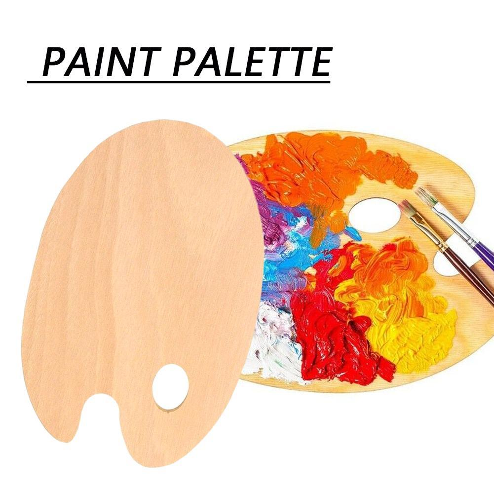 1 Pc Paint Tray Palette Art Supplies Watercolor Oval Painting Flat Artist Wooden Thumb With Acrylic Oil Hole B4Y5