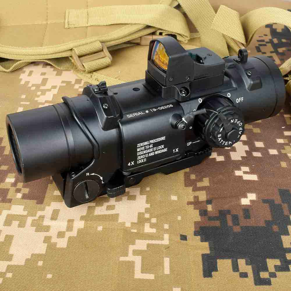 Tactische 1x-4x Vaste Dual Purpose Scope Met Mini Red Dot Scope Red Dot Sight voor Rifle Jacht Schieten