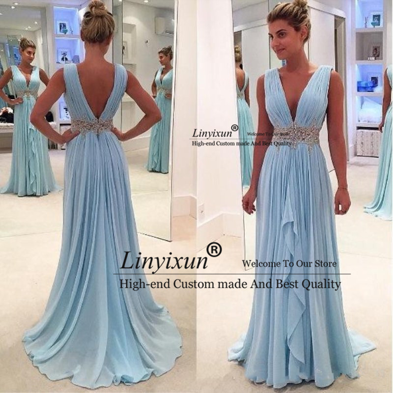 Blue 2020   Prom     Dresses   A-line Deep V-neck Chiffon Beaded Party Maxys Plus Size Long   Prom   Gown Evening   Dresses   Robe De Soiree