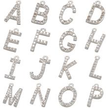 ZHUKOU 7x8mm 26 srebrny kolor kryształu zawieszka w kształcie litery dla kobiet naszyjnik kolczyki biżuteria akcesoria making model VD594 tanie tanio CN (pochodzenie) Miedzi Alfabet Daty i numery Moda Cyrkonia Klasyczny Charms