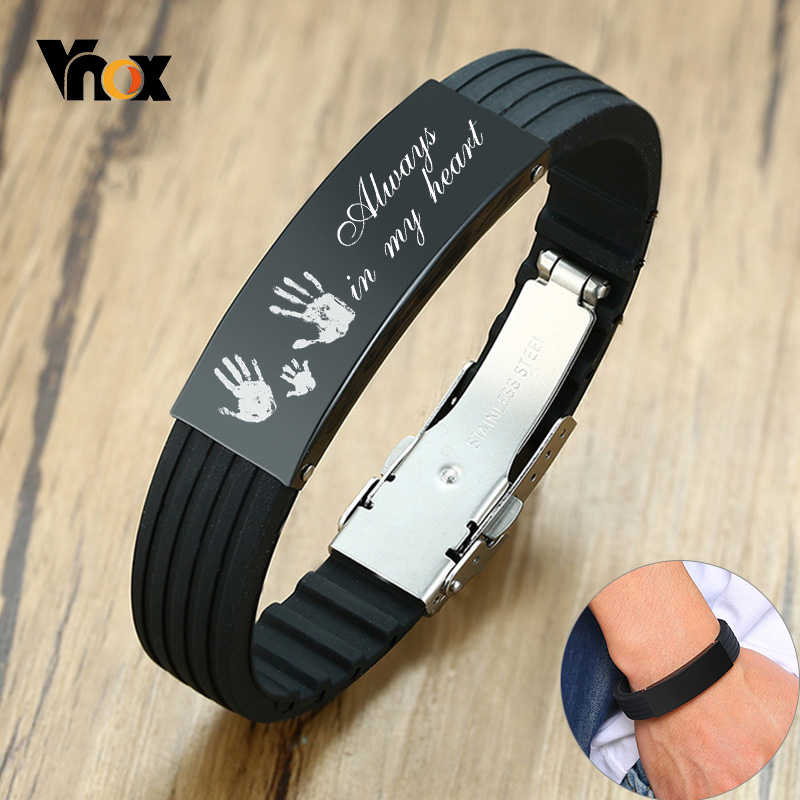Vnox Customize 16mm Slicone Bracelets for Men Black Stainless Steel Tag Personalize Family Love Bangle Father Husband Gift