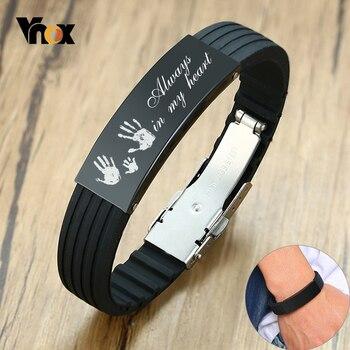 Pulseras Vnox personalizadas de 16mm para hombres, pulseras negras de acero inoxidable, etiqueta personalizada, brazalete de amor familiar, regalo para padre, papá y marido