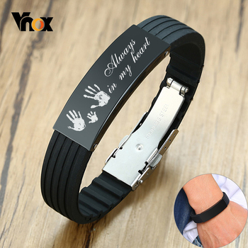 Vnox Customize 16mm Slicone Bracelets for Men Black Stainless Steel Tag Personalize Family Love Bangle Father DAD Husband Gift vnox customize name quotes leather bracelets for men glossy stainless steel layered braided bangle personalized dad husband gift