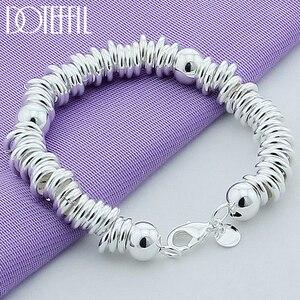 Image 1 - DOTEFFIL 925 סטרלינג כסף מוצק חרוזים מלא מעגל צמיד שרשרת לנשים גברים חתונה מסיבת אירוסין תכשיטים