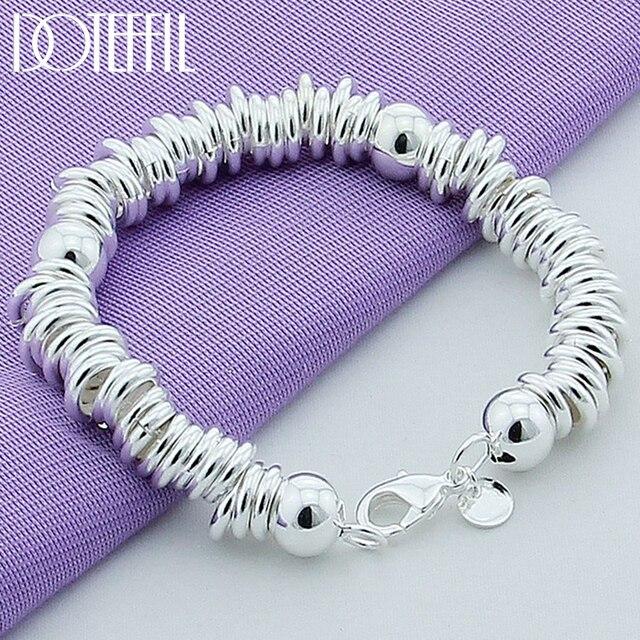 DOTEFFIL 925 סטרלינג כסף מוצק חרוזים מלא מעגל צמיד שרשרת לנשים גברים חתונה מסיבת אירוסין תכשיטים