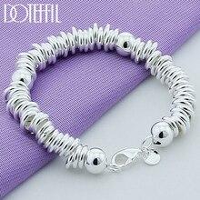 Doteffle Bracelet en argent Sterling 925, perles solides, chaîne complète, bijoux pour femmes et hommes, fête, fiançailles, mariage