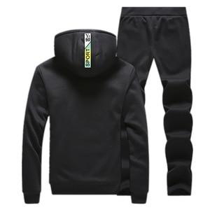 Image 4 - Winter Tracksuits Men Set Casual Thicken Fleece Warm Hooded Jacket Pants Spring Sweatshirt Sportswear Coats Hoodie Track Suits