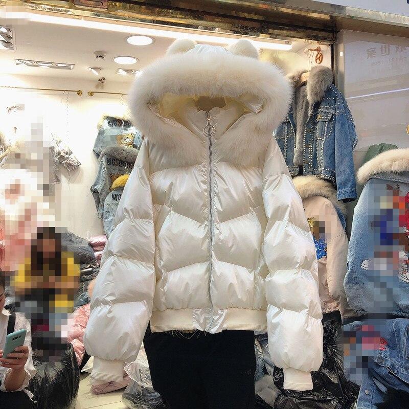 Новинка 2019, зимняя куртка с воротником из натурального Лисьего меха, свободная яркая хлопковая парка с капюшоном, женская короткая куртка, утепленная розовая куртка - 2