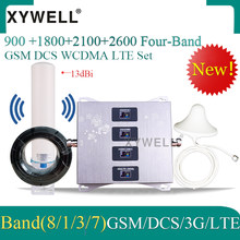 New!! 900/1800/2100/2600mhz Four-Band Mobile Signal Booster gsm repeater 2g 3g 4g DCS WCDMA LTE GSM 4g Cellular Amplifier