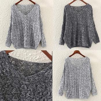 Women's Hollow Out Bat Long Sleeve Loose V Collar Sweater jersey mujer свитер женский new sweater for women 2019 джемпер женский 2
