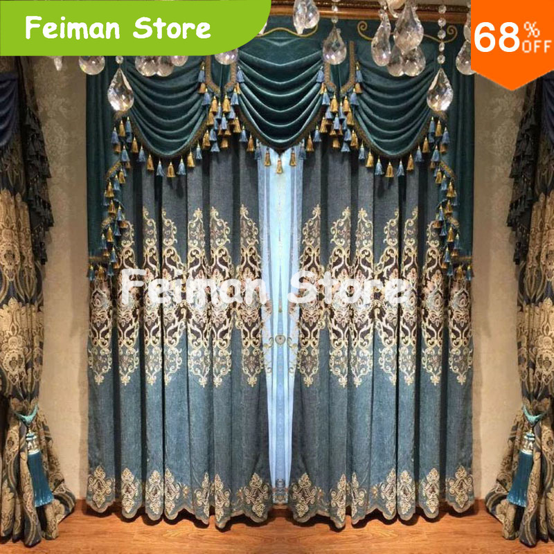 Best Luxury Curtain Decoration Green Blue Polis Brand Drape Extreme Blackout Drapery New Design For Curtains