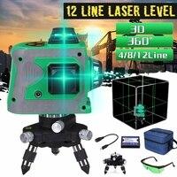 12 linii 3D poziom lasera poziom samopoziomujący 360 poziome i pionowe krzyż Super mocny zielony laser poziom 110V ~ 220V w Poziomice laserowe od Narzędzia na