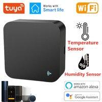 Tuya 스마트 와이파이 IR 원격 제어 온도 및 습도 센서 에어컨 TV DVD AC Alexa Google 홈과 함께 작동