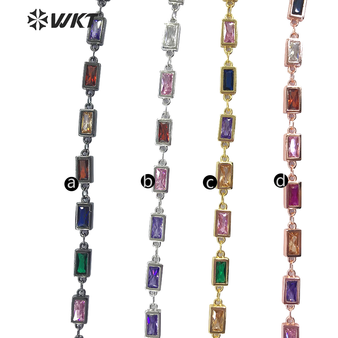 WT-BC122 WKT Multicolor Optional Chain Square Cubic Zircon Chain 5 Meter Fashion Brass Chain For Women Stylish Jewelry Making