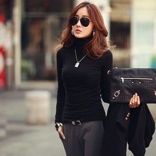 New Multi-colors Spring Autumn Women Tops Long Sleeve Turtleneck  T-shirt Solid Stretch Silm Bottoming