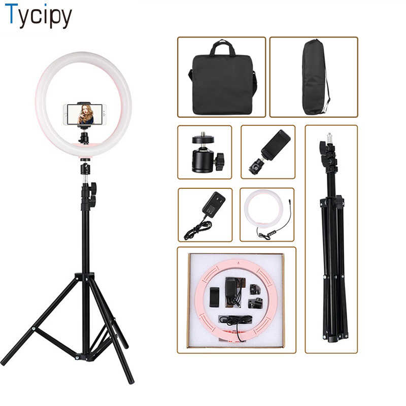 12 inch LED Ring Light Photography Dimmable 5500K 24W Photo Studio Light Adapter Plug for iPhone with 1.1m Tripod Phone Bags
