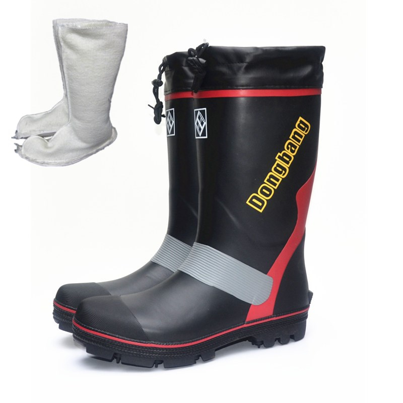 Steel Nail Non-slip Waterproof Fishing Shoes Men Womens High Tube Rubber Rain Boots Wading Shoes Winter Warm Fishing Snow Boots image