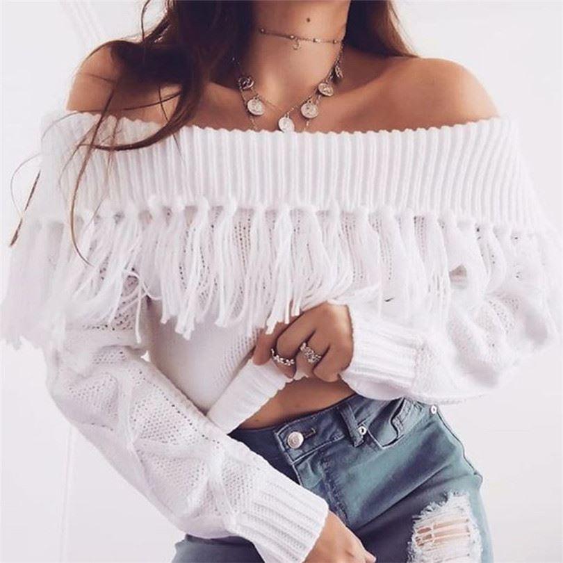 Зимняя одежда высокого качества, сексуальный дизайн с открытыми плечами, модные свитера с бахромой 2019, женский красивый свитер с открытым п