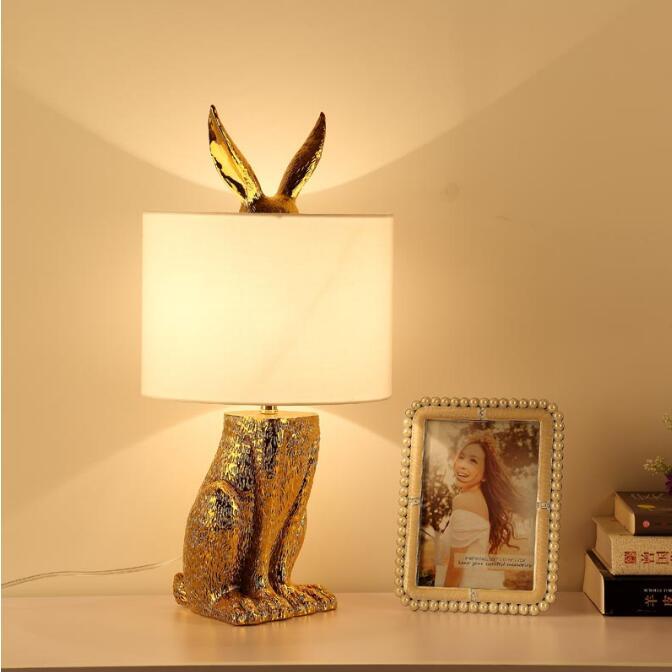 Moderne Gemaskeerd Konijn Hars Tafellampen Retro Industriële Bureau Verlichting voor Slaapkamer Bed Studie Restaurant Decoratieve Verlichting - 3