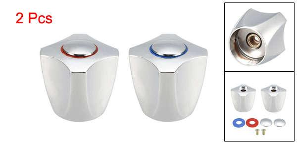 Faucet Knob Handle 34mm Dia Universal Replacement Handle Silver Tone 6 Pcs