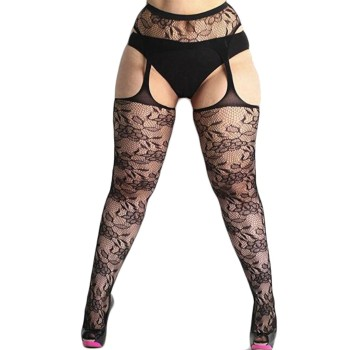 Fashion Women Lace Suspender Pantyhose Tights solid stockings Hollow Sheer Sexy Fishnet Thigh High Pantyhose Belt Garter N50 2