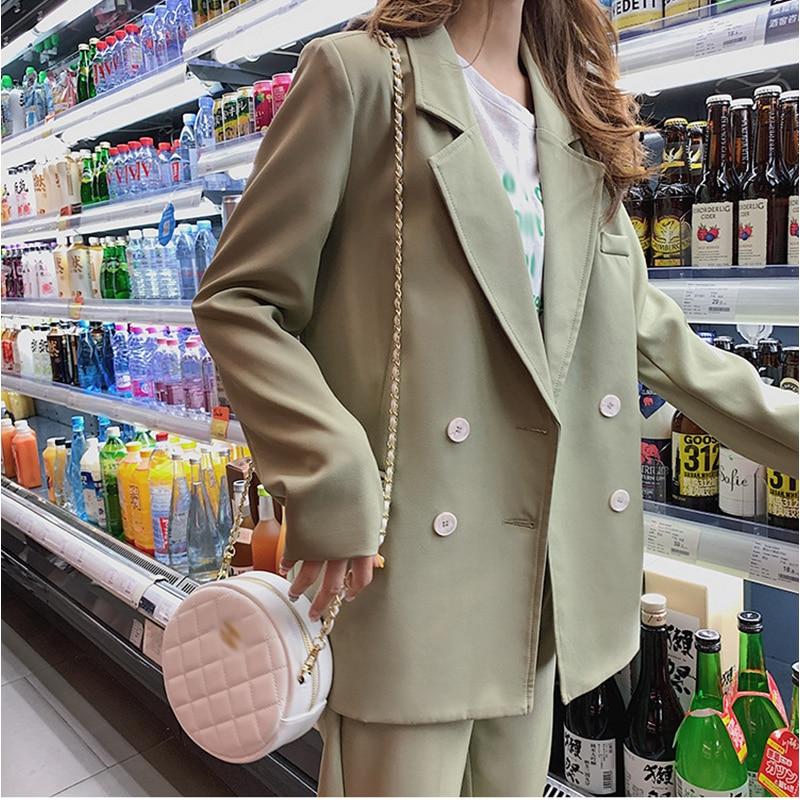 Female Pant Suits Blazer Vintage Light Green Women Suits Double Breasted Pencil Pant Casual 2 Pieces Set Femme Office Wear