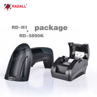 RD-5890K 58mm USB Thermal Printer High Speed Printing Compatible ESC/POS Print Commands Set RD-H1 1D Wired Laser Barcode Scanner