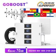 Ripetitore gsm quad band GOBOOST 3g 4g 850 900 1800 2100 2600 mhz amplificatore a 4 canali schermo mobile segnale telefonico di rete