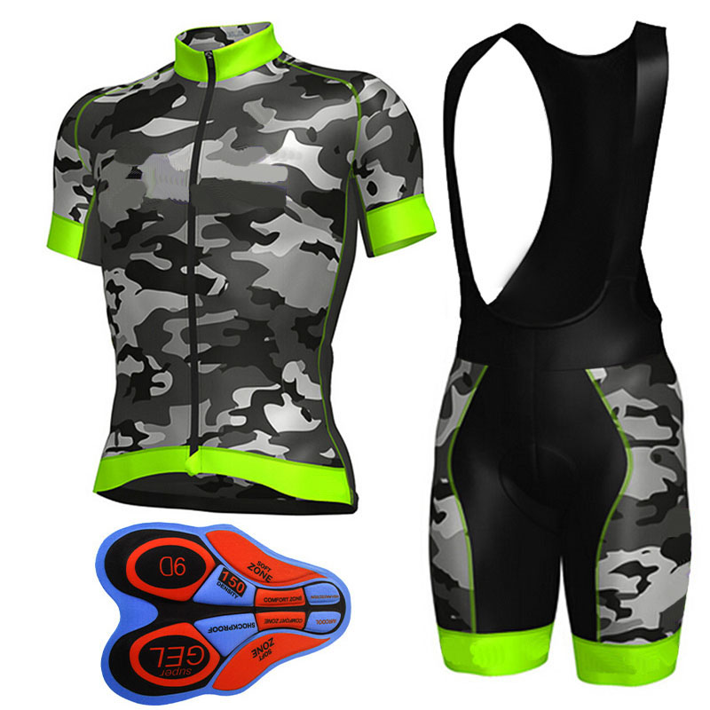 2019 Camouflage Green Cycling Clothing Bike Jersey Quick Dry Mens Bicycle Clothes Team Pro Cycling Jerseys 9D Bike Shorts Set