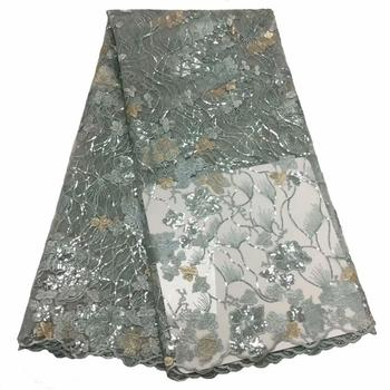 Excellent Flower Embroidery French Net Lace Fabric With Sequins For Sewing Dress  KN115(5Yards/Lot)