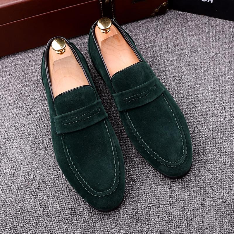QWEDF tout nouveau 2019 noir hommes mocassins chaussures de luxe sans lacet mocassins chaussures hommes décontractées en daim cuir hommes chaussures plates G4-63