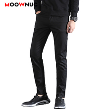 Long Pants Solid Fashion Denim Mens Trousers Brand Pencil Casual Hombre Business Male Slim MOOWNUC