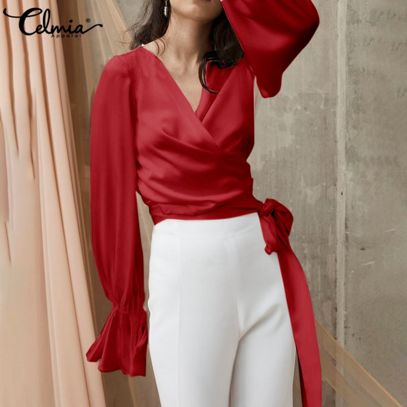 Sexy V Neck Elegant OL Satin Blouse Women Fashion Shirt Celmia Ladies Long Flare Sleeve Casual Solid Belted Party Blusas Tops 7