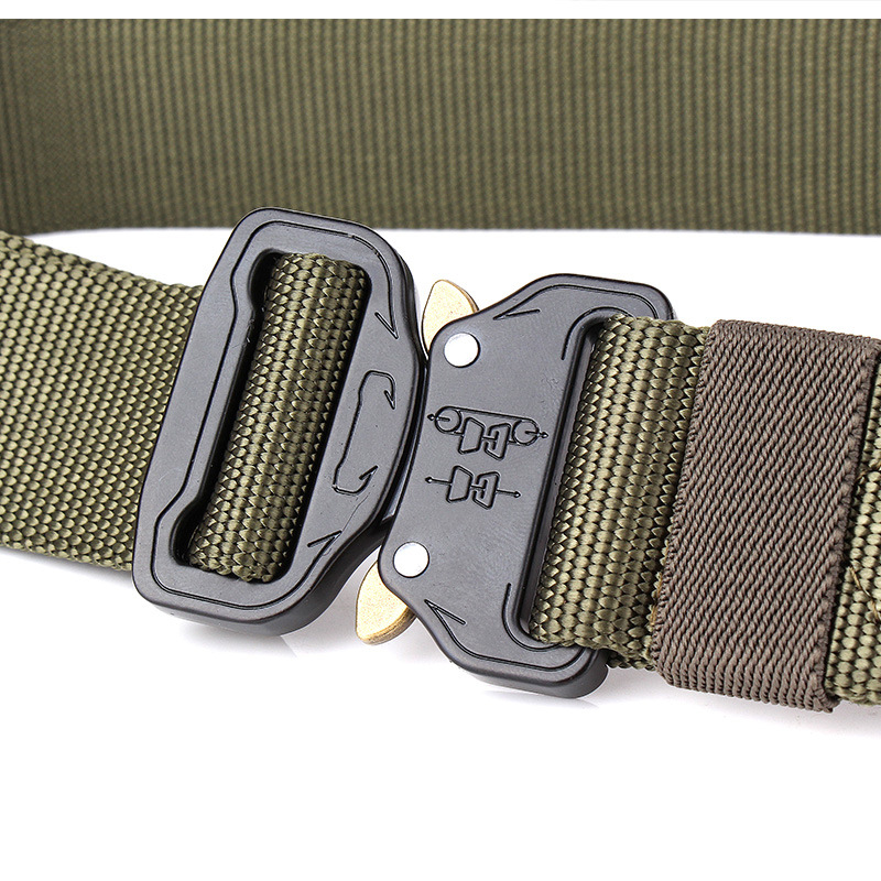 Military Tactical Belt Nylon Belts for Men Metal Buckle Combat Outdoor Training Waistband