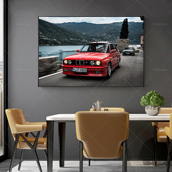 Wall Art Poster Modular BMW E30 1986 Front Red Car Pictures HD Printed Motion Coupe Canvas Painting Home Decor Room Framed image