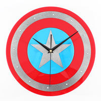 Shield Wall Clock America Captain Shield Home Decor Clocks Creative Art Watch Modern Design 12 Hero Fans Gift