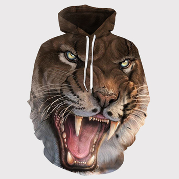 Brand tiger hoodie black clothing animal hoodie 3d print hoodie men's oversized hoodie hip hop fashion autumn new Asian size фото