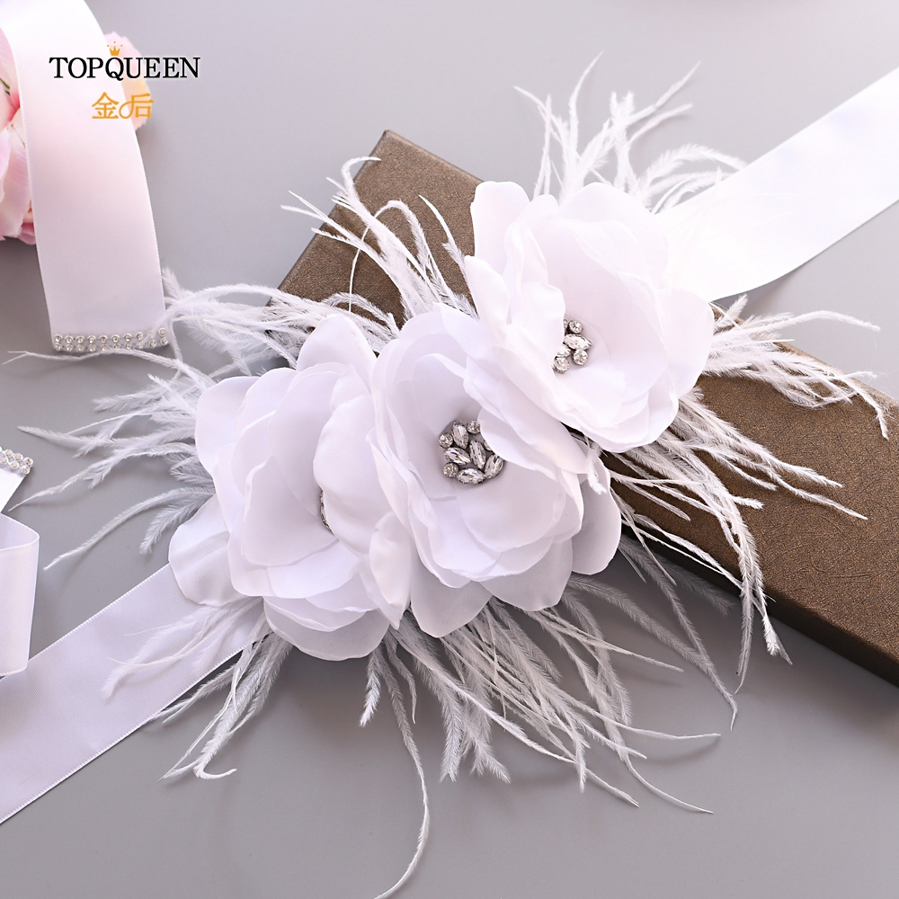 TOPQUEEN Bridal Belt White Accessories Dress Belt For Women White Flower Girl Sash Feather Belt Floral Woman Sash Belt S438