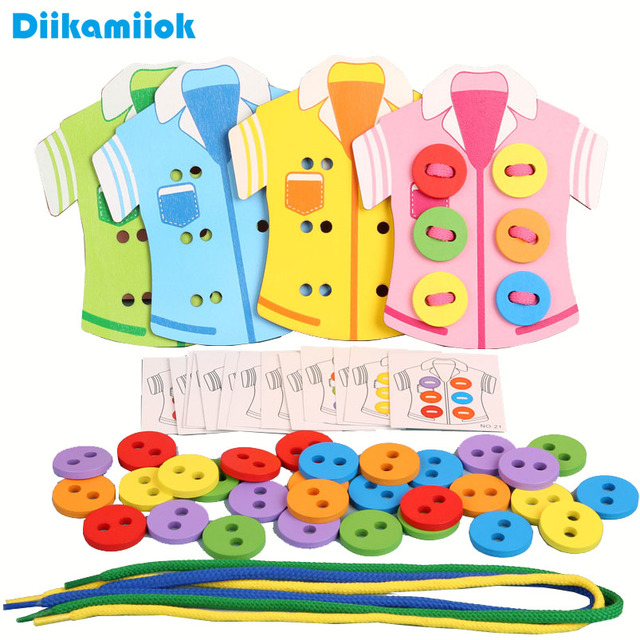 4pcs/set Wooden Clothes Wearing Rope Handmade Threading Toy Baby Learning Educational Toys Kids Life Skills Training Game MG-Z60