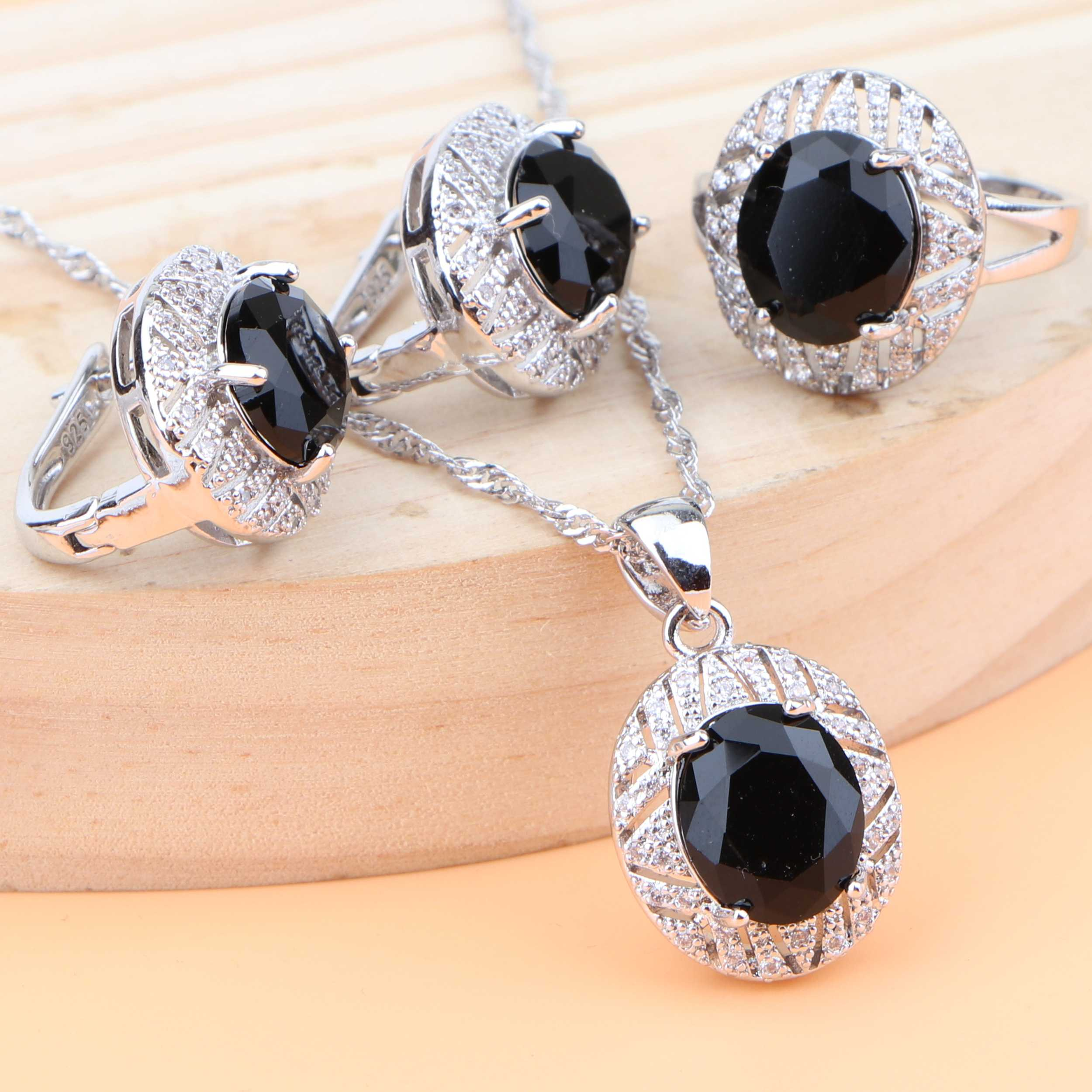 Hochzeit Silber 925 Schmuck Sets Für Frauen Schwarz Zirkonia Ohrringe Kostüm Braut Schmuck Halskette Set Ring Geschenk Box