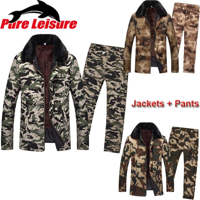 PureLeisure Men Winter Fishing Jersey Fleece Tactical Jacket Coat Pants Suit For Fishing Camping Hunting Hiking Camouflage Set