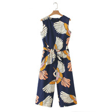 2019 Bow Tie Print Jumpsuits for Women Elegant Sashes Pockets Crane Sleeveless Jumpsuits Pleated Romper Retro Casual Jumpsuits недорого
