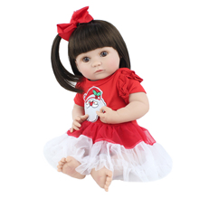 40cm Full Silicone Body Reborn Baby Doll Toy For Girl Soft Vinyl Christmas Dress Mini Newborn Babies Doll Child Gift Bathe Toy