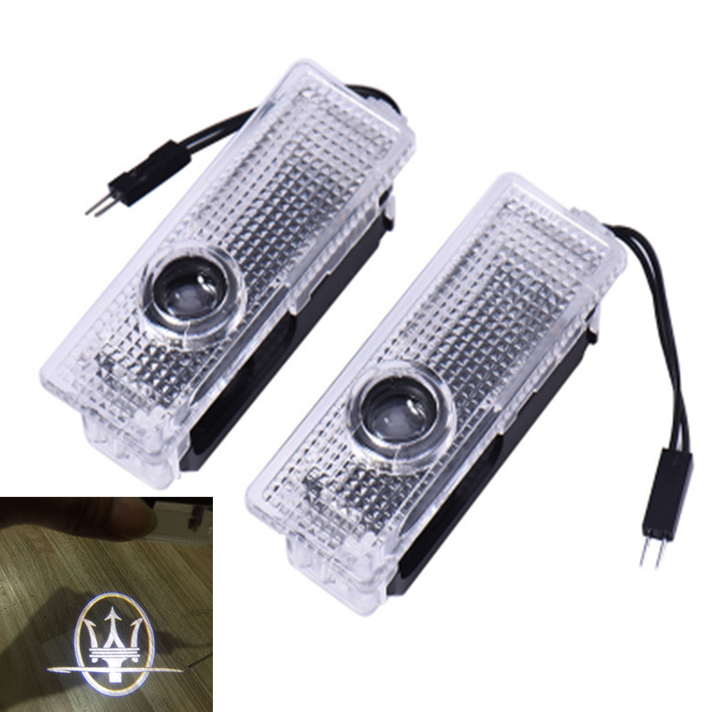 2x Car LED Door Logo Light Ghost Laser Shadow Projector Warning Lamp For Maserati Quattroporte Ghibli