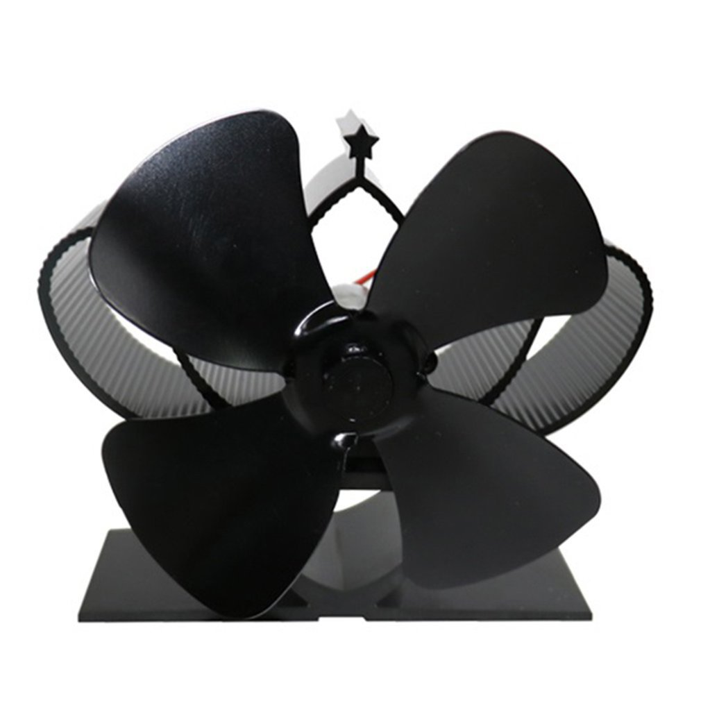 Black Fireplace 4 Blade Thermal Heat Powered Pellet Stove Fan Oven Wood Burner Eco Fan Tools for Decorative Accessories Portal image