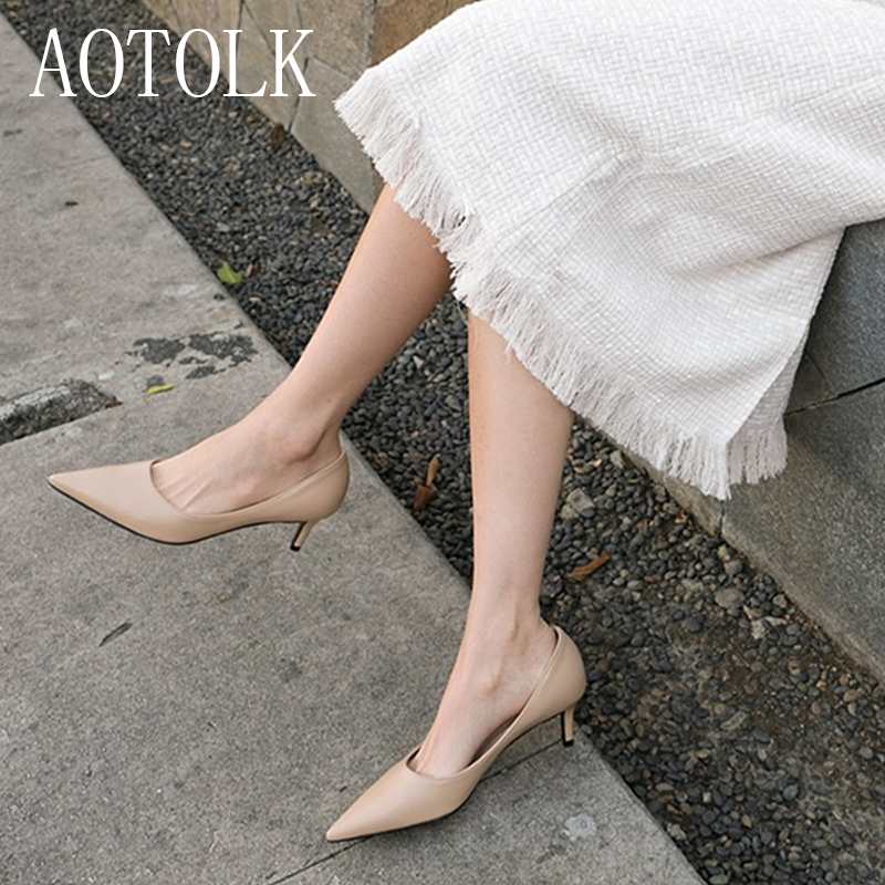 Female Heels Women Shoes Brand Women Pumps  Office Ladies Working Shoes Solid Pointed Toe Dress Shoes Spring Autumn Plus Size DE